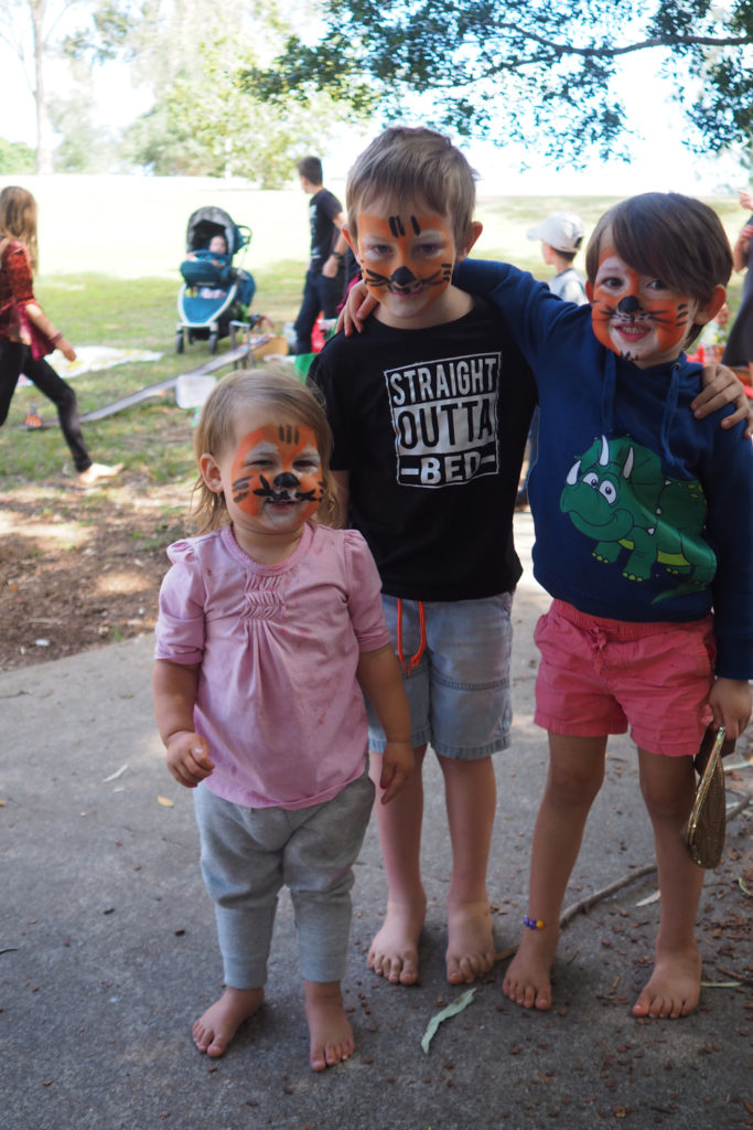 Homeschool Brisbane Spring Fair: tiger facepainting