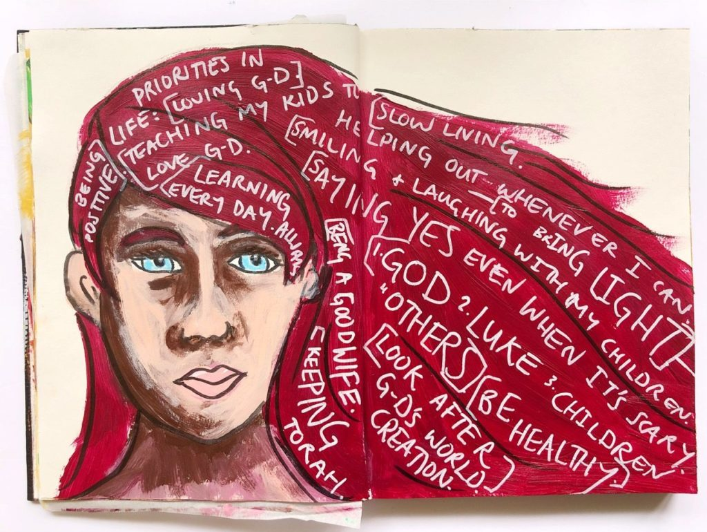 art journaling page of a girl with text in her red hair