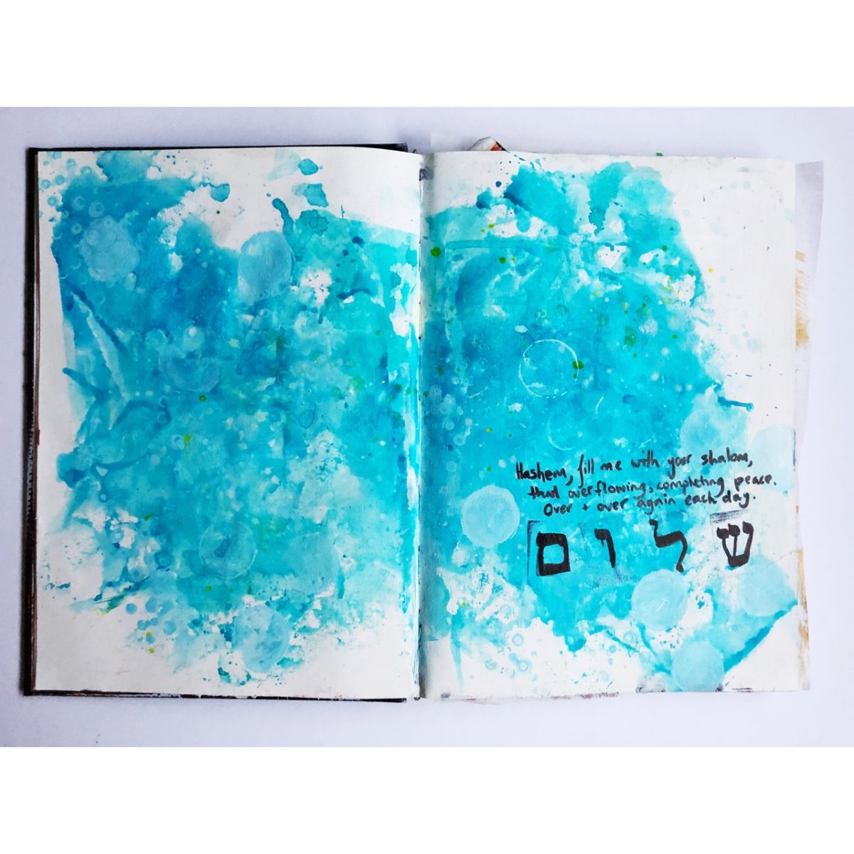 Jewish art journaling of the word shalom