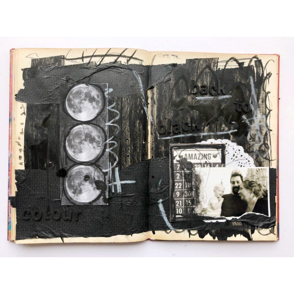 Back to Black - monochromatic art journaling page