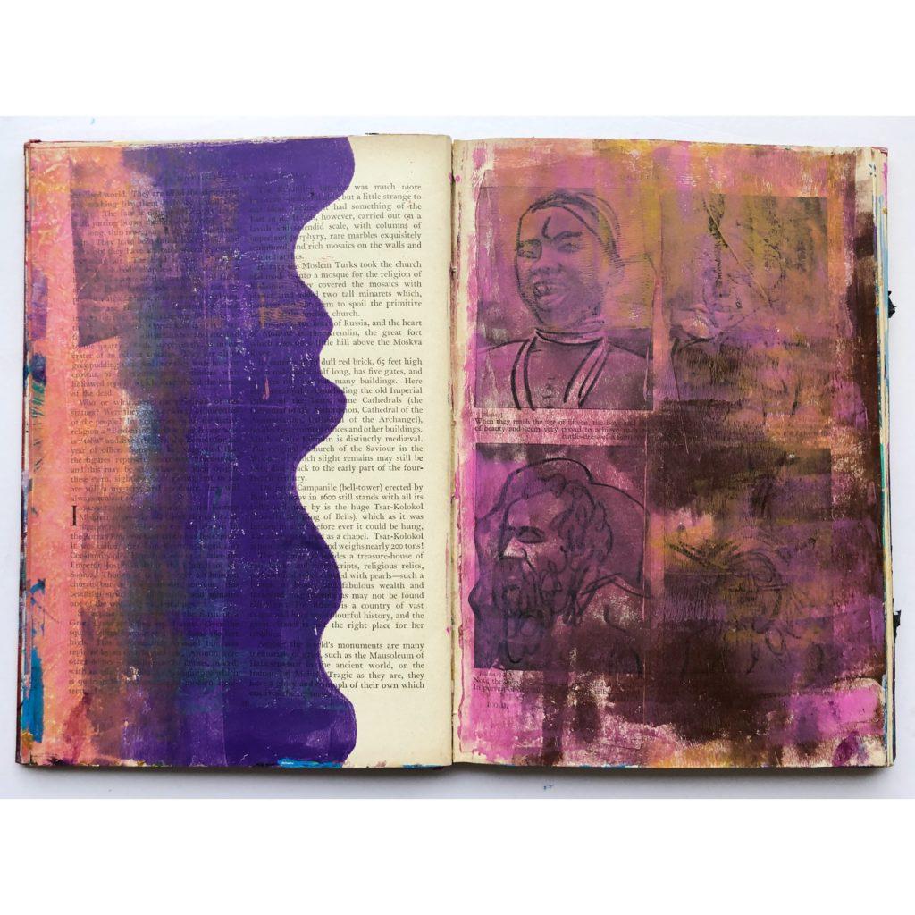 Gelli printing art journal page