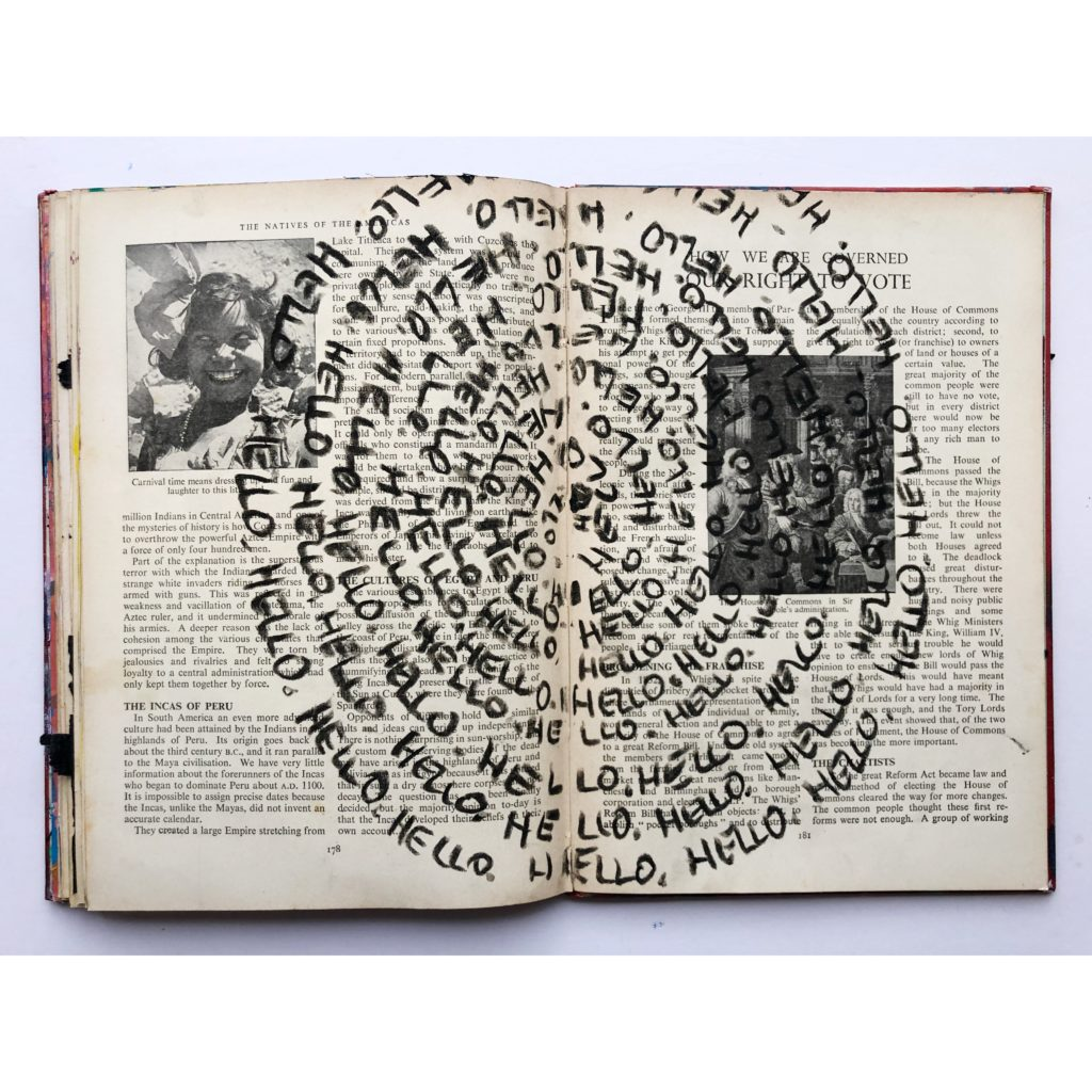 """Hello"" spiral art journaling page"