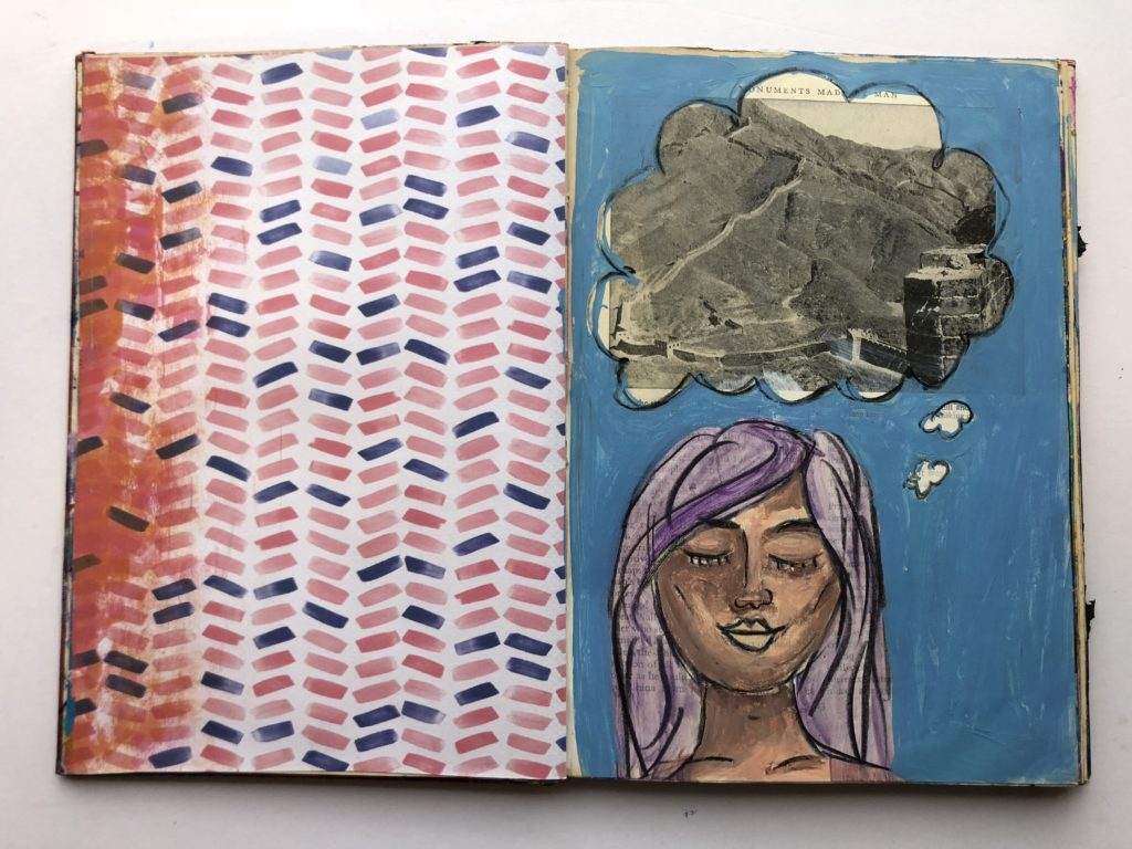 """dreamer"" art journaling page - altered book"