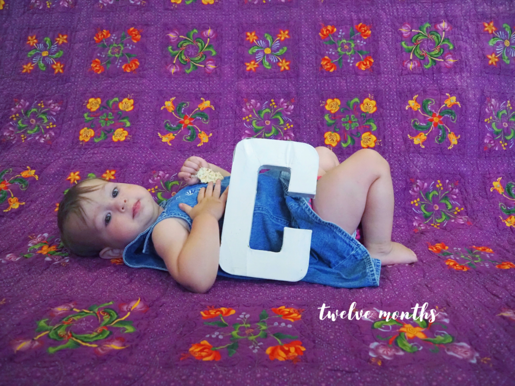 "baby girl lying on a quilt with the letter ""C"", and ""twelve months"" written below"